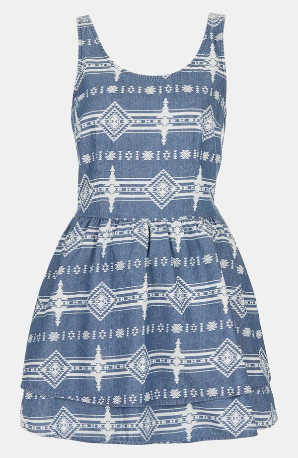 Alternate Image 3  - Topshop Moto Lace Up Tribal Print Denim Dress