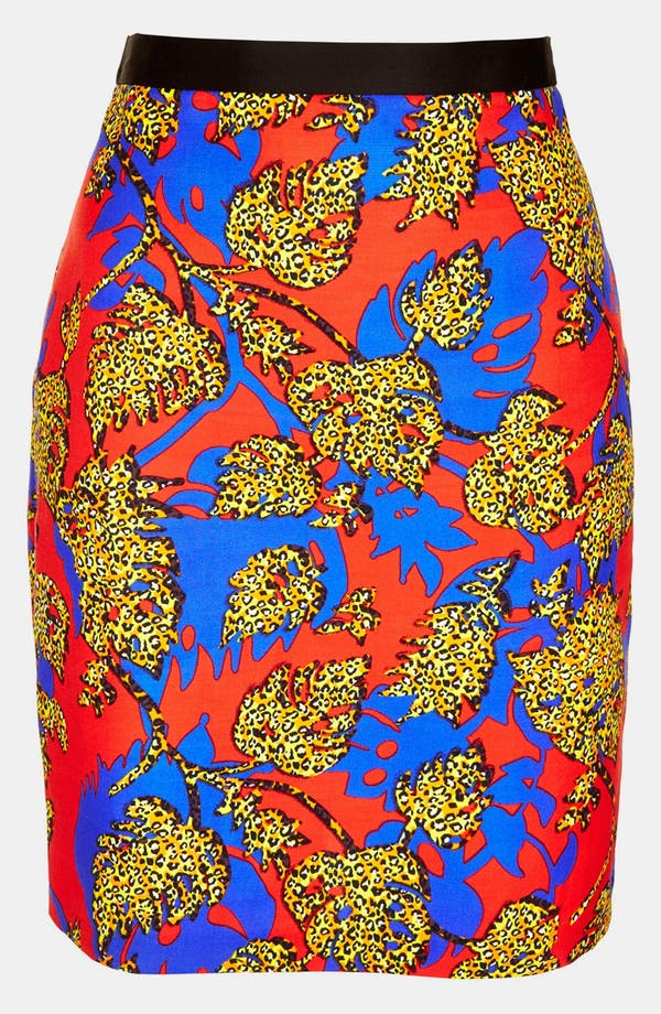 Alternate Image 3  - Topshop Leopard Leaf Print Pencil Skirt