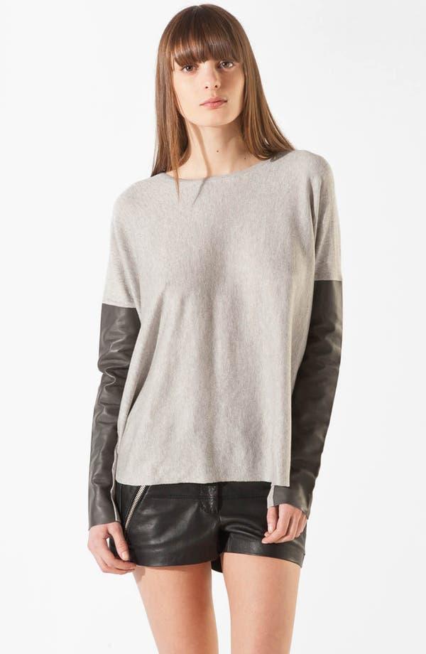 Main Image - maje 'Pomelos' Leather & Silk Blend Sweater