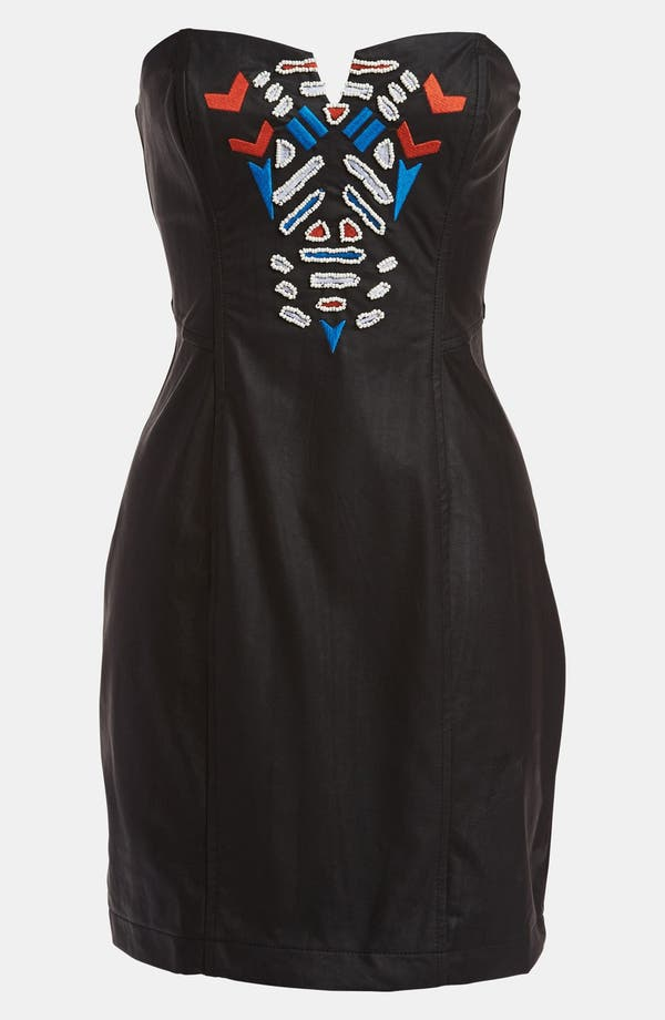 Main Image - ASTR Embroidered Faux Leather Strapless Dress