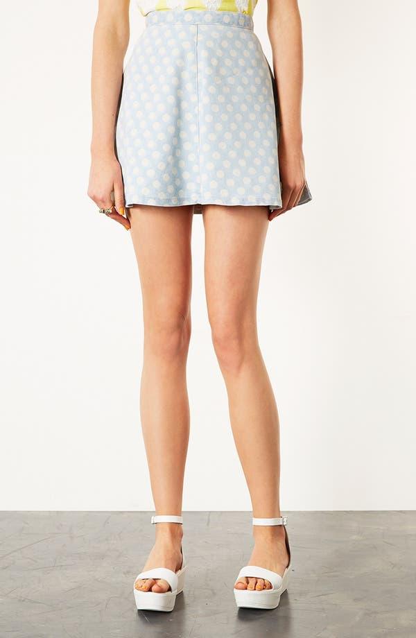 Main Image - Topshop Moto Spotted Denim Skirt