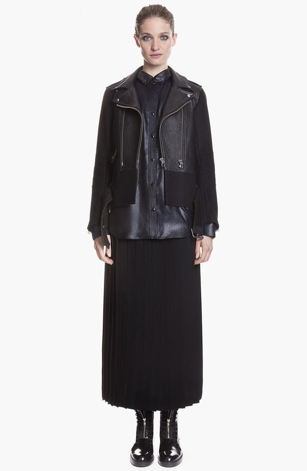 Main Image - sandro 'Version' Belted Leather & Wool Moto Jacket