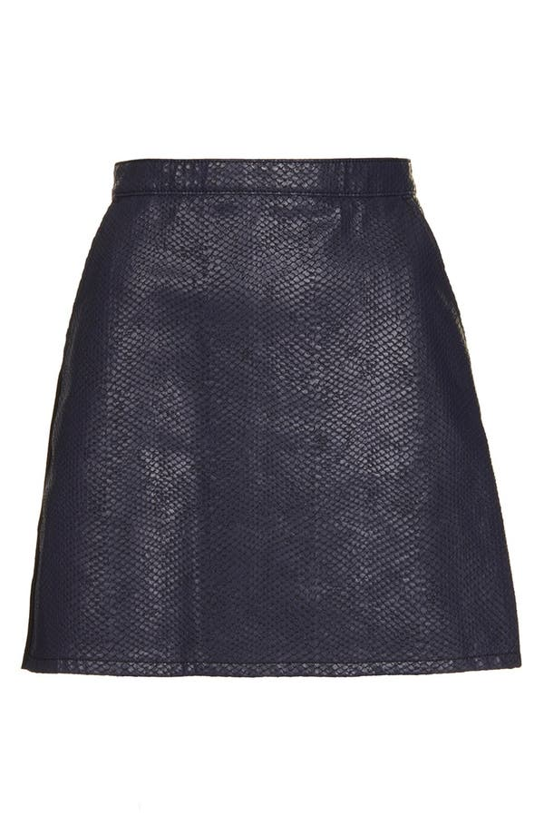 Alternate Image 3  - Topshop Moto Faux Crocodile Leather Front A-Line Skirt