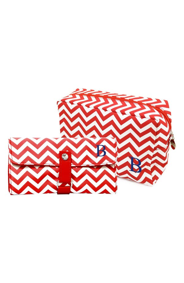 Main Image - Cathy's Concepts Personalized Cosmetics Bag & Makeup Brush Set
