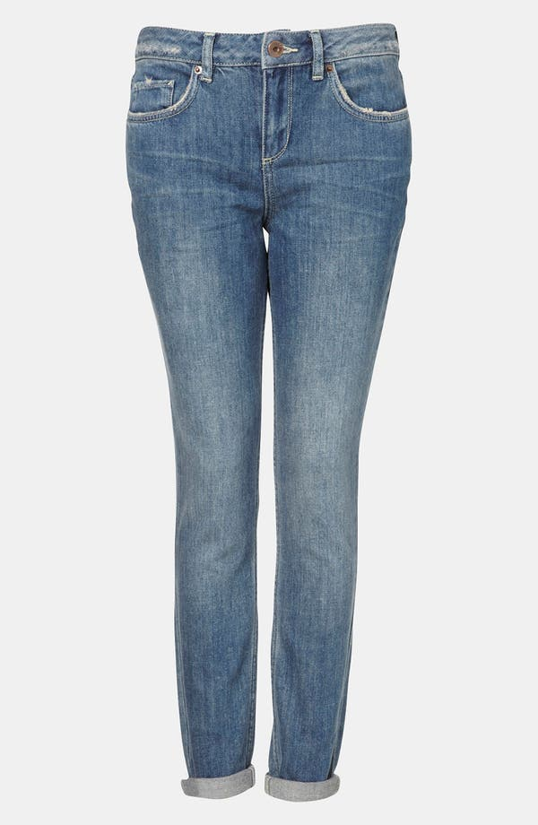 Main Image - Topshop Moto 'Aiden' Distressed Skinny Jeans (Midstone)
