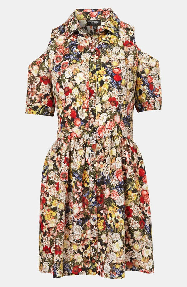 Main Image - Topshop Floral Cutout Shirtdress