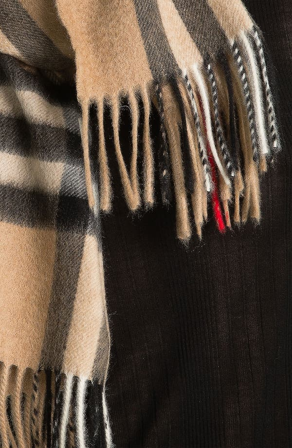 Alternate Image 2  - Burberry Giant Check Fringed Cashmere Muffler