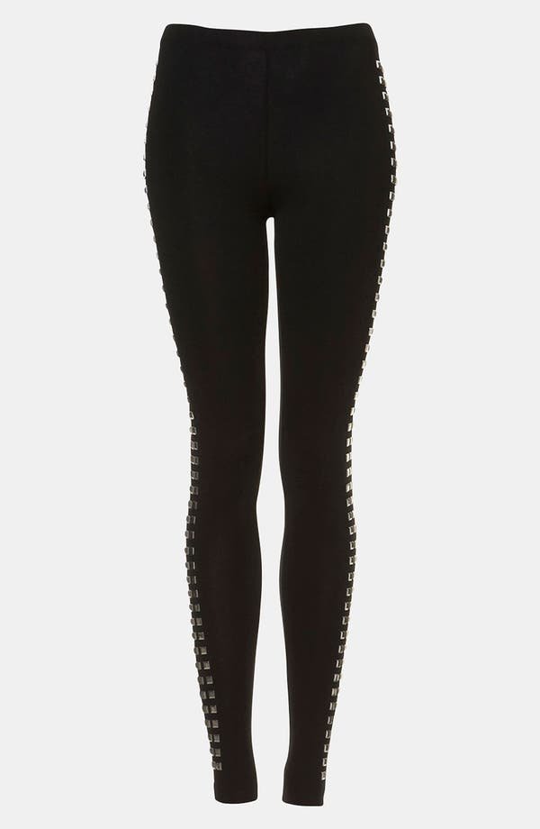 Main Image - Topshop 'Tuxedo' Studded Leggings