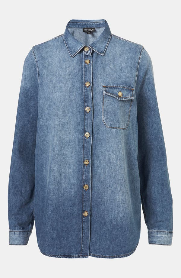 Main Image - Topshop Vintage Oversized Denim Shirt