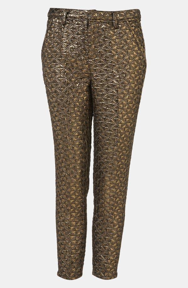 Main Image - Topshop Metallic Jacquard Crop Cigarette Pants