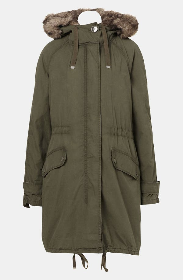 Alternate Image 1 Selected - Topshop 'Benny' Faux Fur Trim Parka