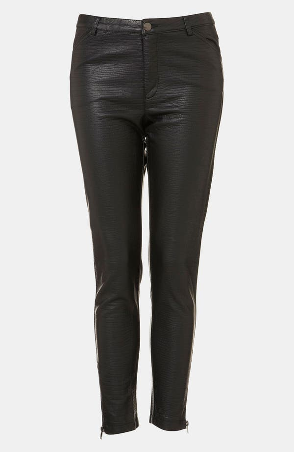 Main Image - Topshop 'Howard' Croc Embossed Faux Leather Pants