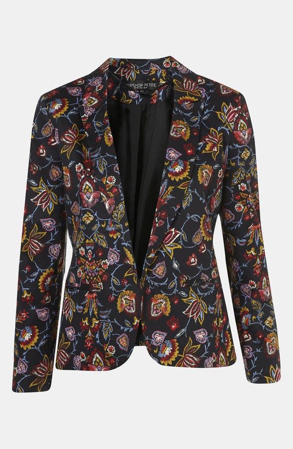 Main Image - Topshop Tapestry Print Open Front Blazer (Petite)
