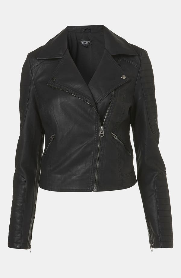 Alternate Image 2  - Topshop 'Cross' Studded Faux Leather Jacket