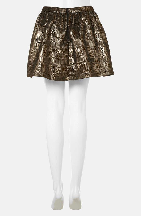 Alternate Image 2  - Topshop Metallic Jacquard Skater Skirt