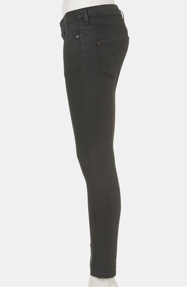 Alternate Image 4  - Topshop Moto 'Leigh' Coated Skinny Jeans (Black) (Petite)