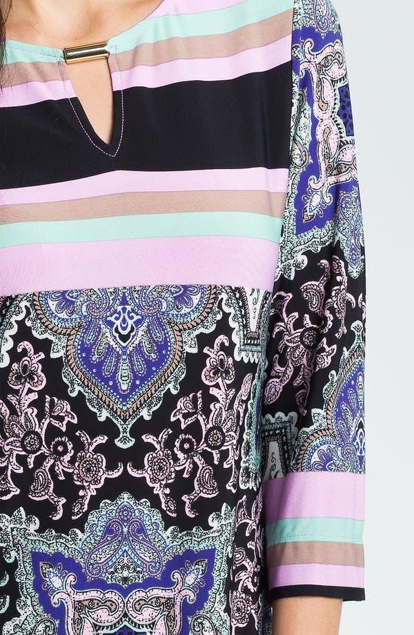 Alternate Image 3  - Donna Morgan Print & Stripe Keyhole Detail Knit Dress