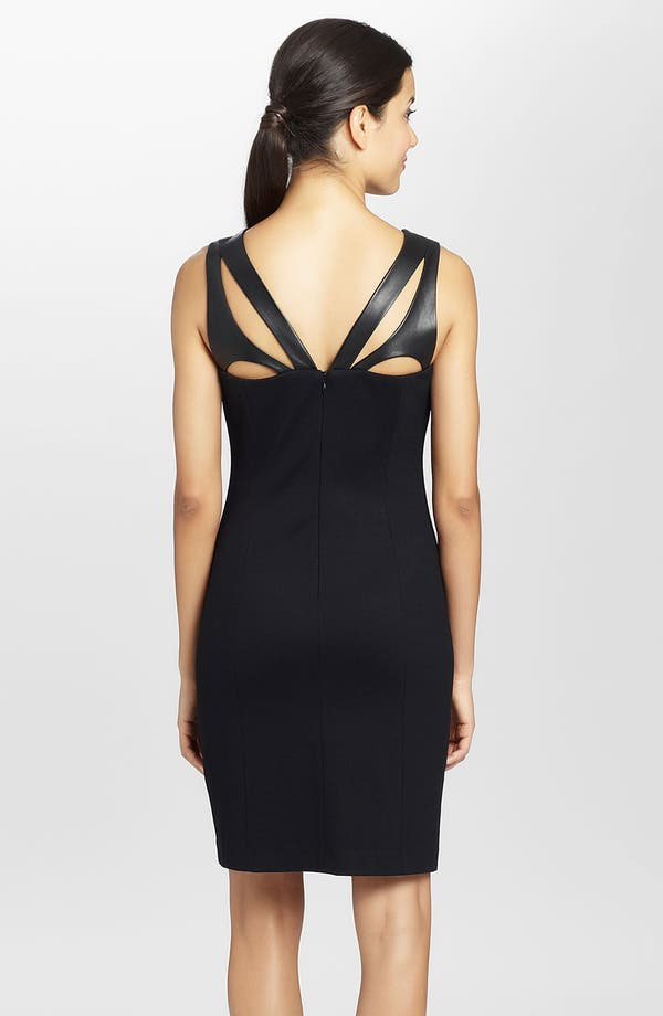 Alternate Image 2  - Cynthia Steffe 'Callie' Cutout Leather & Ponte Sheath Dress
