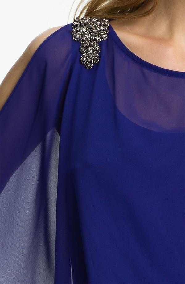 Alternate Image 3  - Xscape Embellished Shoulder Chiffon & Jersey Blouson Dress