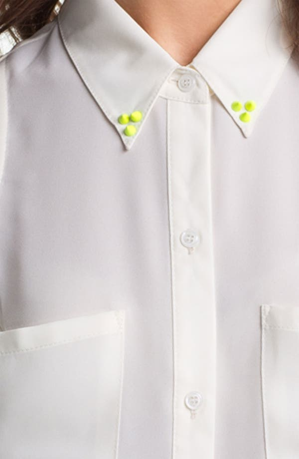 Alternate Image 3  - Lush Neon Stud Collar Sleeveless Shirt (Juniors)