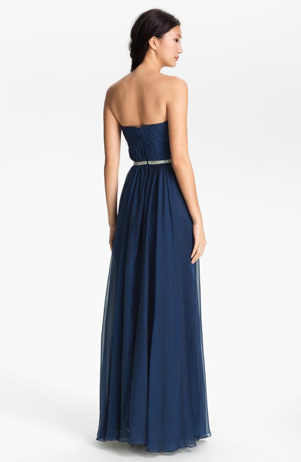 Alternate Image 2  - La Femme Embellished Chiffon Strapless Gown