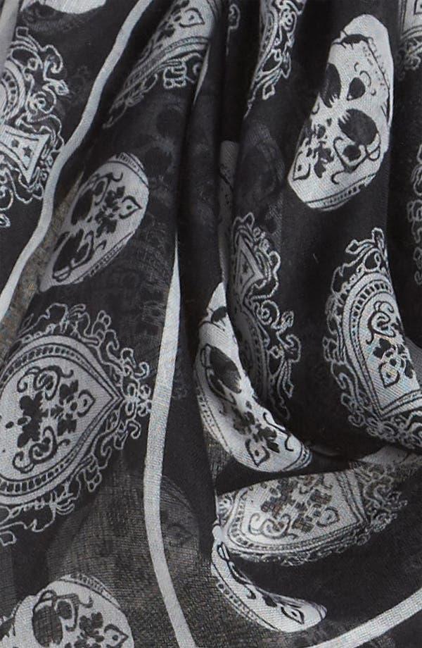 Alternate Image 2  - David & Young Skull Print Sheer Scarf