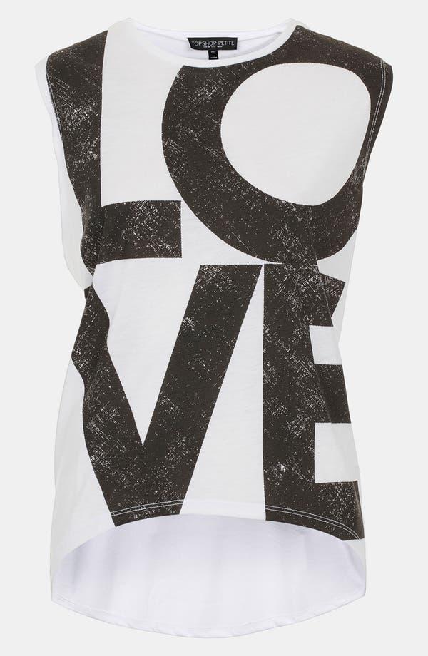 Main Image - Topshop 'Love' Graphic Tank (Petite)