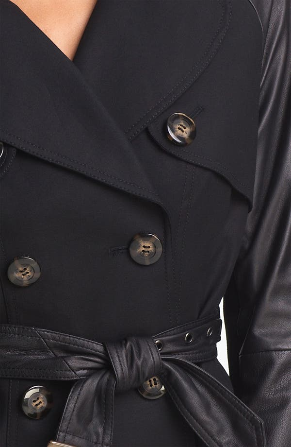 Alternate Image 3  - Dawn Levy 'Morgan' Leather Sleeve Trench Jacket