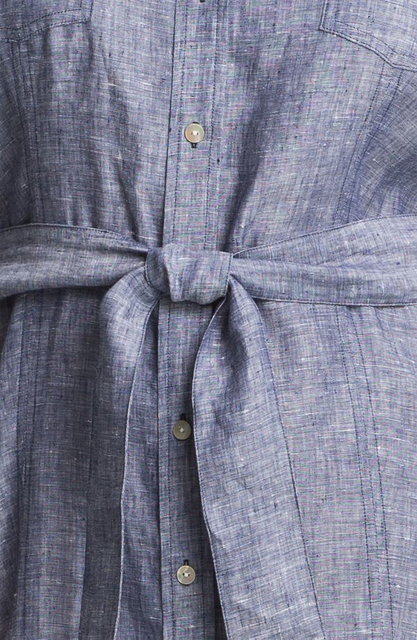 Alternate Image 3  - Foxcroft Chambray Linen Shirtdress (Plus Size) (Online Only)