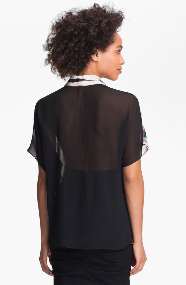Alternate Image 2  - Nicole Miller Sheer Print Chiffon Blouse