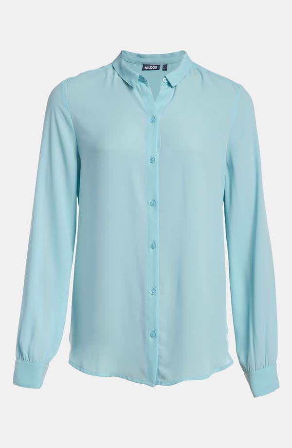 Alternate Image 1 Selected - Tildon 'Tiny Collar' Sheer Blouse