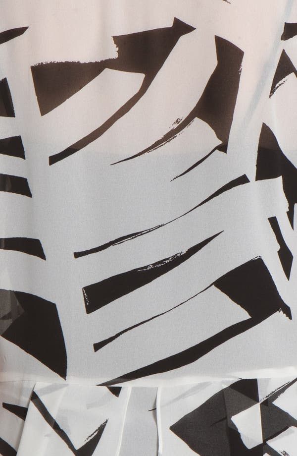 Alternate Image 3  - DKNYC Print Chiffon Peplum Blouse (Plus Size)