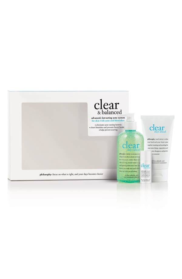 Alternate Image 1 Selected - philosophy 'clear & balanced' kit ($77 Value)