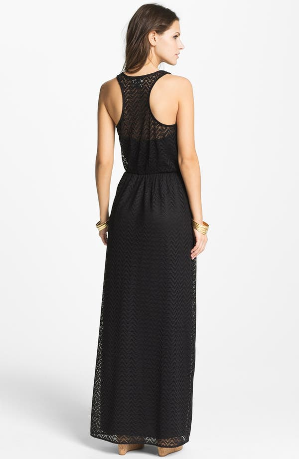 Alternate Image 2  - Way-In Zigzag Crochet Maxi Dress (Juniors)