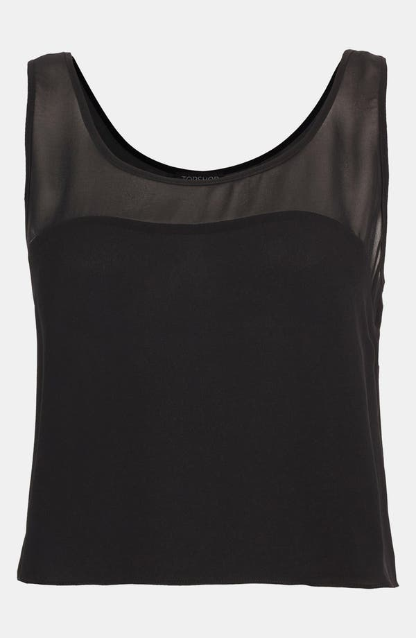 Alternate Image 1 Selected - Topshop Sheer Yoke Crop Tank