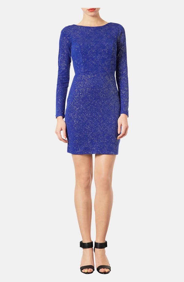 Main Image - Topshop Glitter Print Back Cutout Body-Con Dress