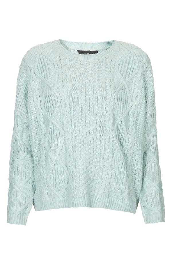 Main Image - Topshop Cable Knit Sweater (Petite)