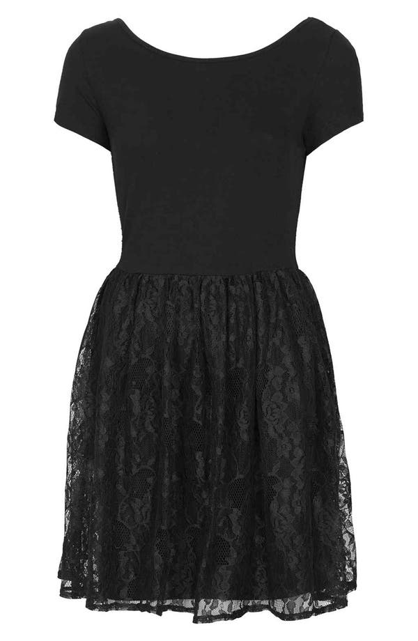Alternate Image 3  - Topshop Lace & Jersey Skater Dress