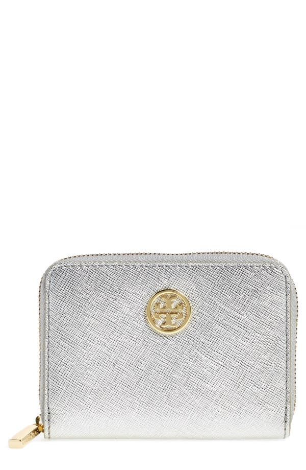 Main Image - Tory Burch 'Robinson' Metallic Saffiano Leather Coin Case