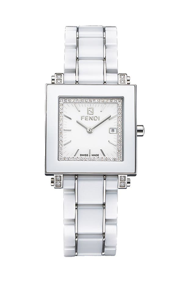Alternate Image 1 Selected - Fendi Ceramic Diamond Watch
