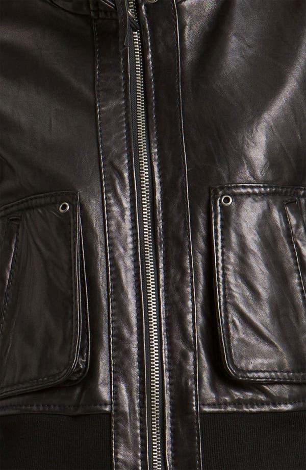 Alternate Image 3  - MICHAEL Michael Kors Knit Trim Leather Bomber Jacket