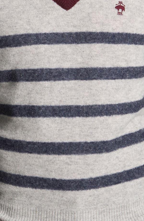 Alternate Image 3  - Brooks Brothers Stripe V-Neck Sweater