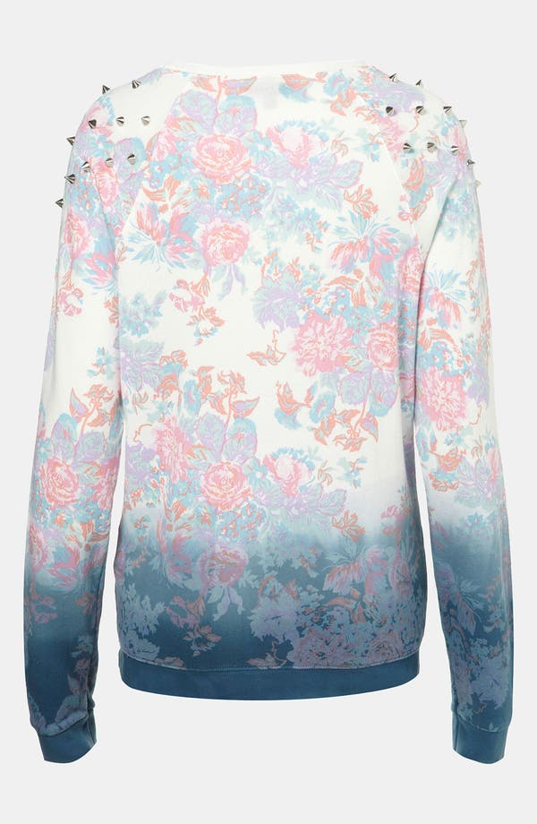 Alternate Image 2  - Topshop Dip Dye Floral Studded Sweatshirt