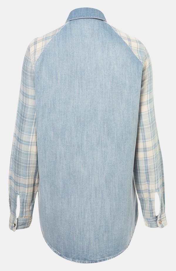 Alternate Image 2  - Topshop Moto Plaid Sleeve Chambray Shirt