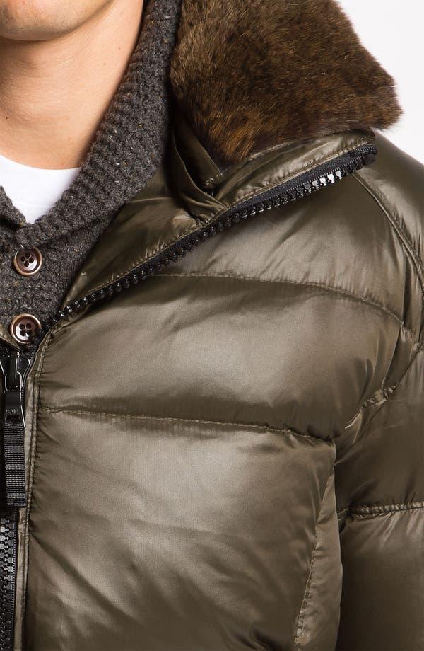 Alternate Image 3  - Sam 'Racer' Down Jacket with Genuine Rabbit Fur Trim