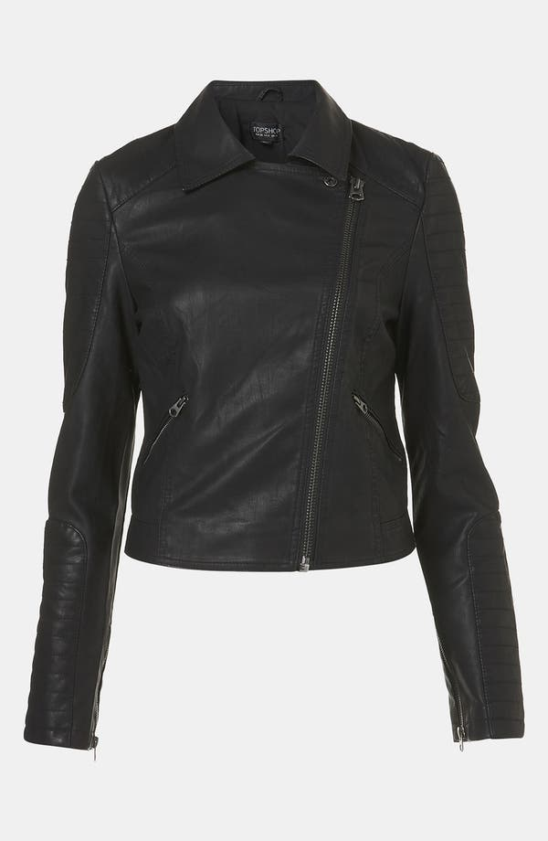 Alternate Image 4  - Topshop 'Cross' Studded Faux Leather Jacket