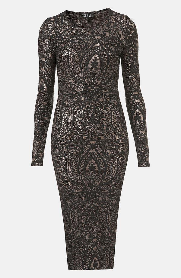 Alternate Image 1 Selected - Topshop 'Paisley' Jacquard Body-Con Dress