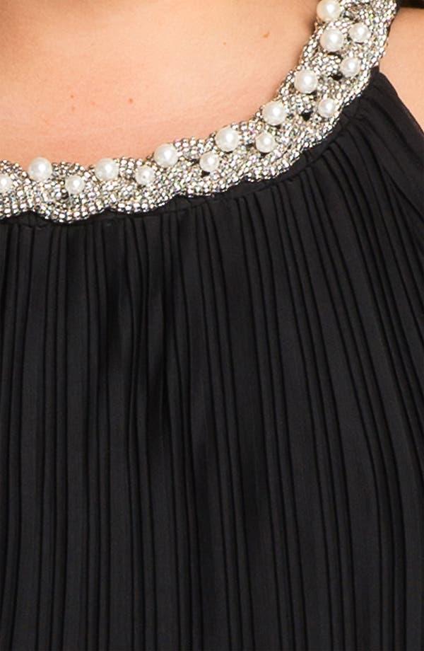 Alternate Image 3  - Donna Ricco Embellished Pleat Mesh Shift Dress (Plus Size)