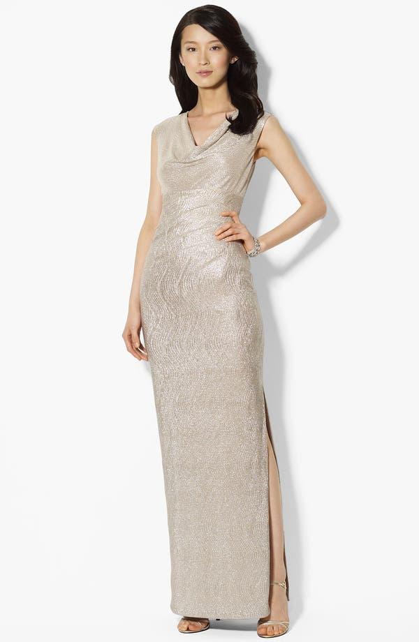 Main Image - Lauren Ralph Lauren Metallic Cowl Neck Gown