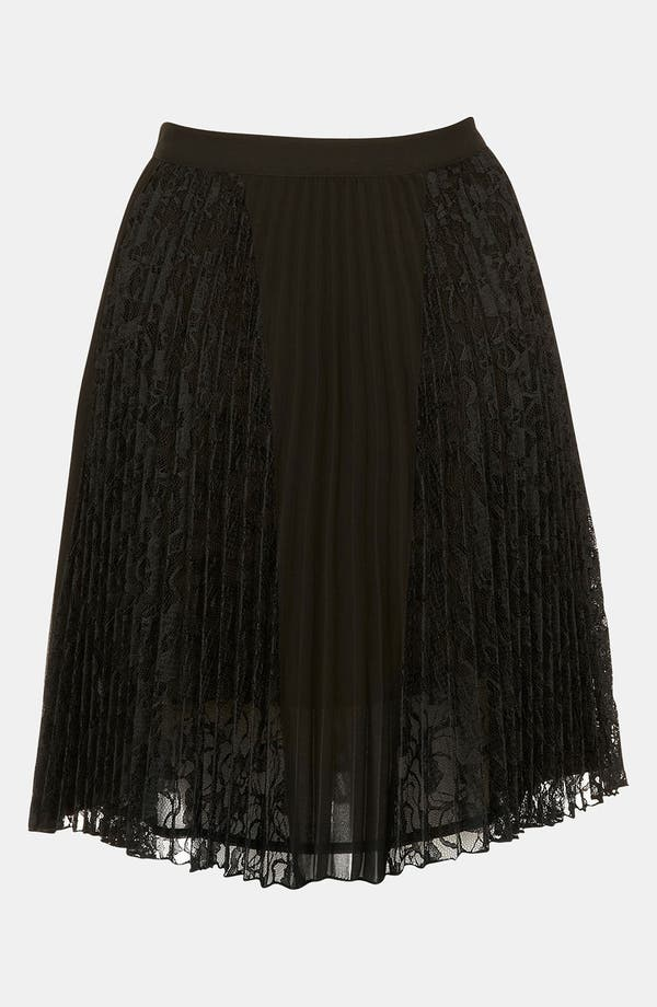 Alternate Image 2  - Topshop Pleated Lace Panel Skirt